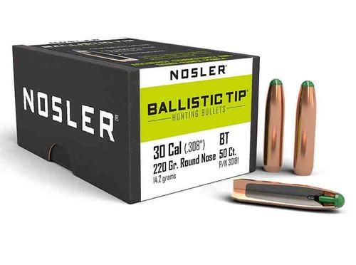 Nosler Ballistic Tip Bullets 30 Caliber .308 Diameter 220 Grain RN