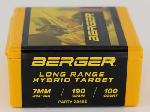 Berger LR Hybrid Target Bullets 7mm Caliber .284 Diameter 190 Grain