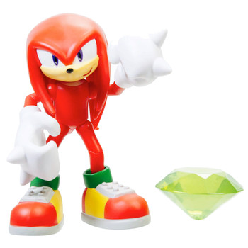 "Knuckles Articulated Sonic the Hedgehog Action Figure 4"" with Chaos Emerald"