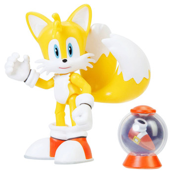 "Tails Articulated Sonic the Hedgehog Action Figure 4"" with Fast Shoes Box"
