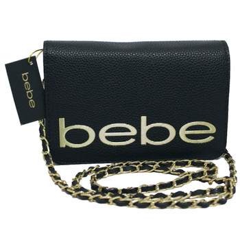 """BeBe Black Crossbody Bag with Chain Strap 7.5"""" Wide by 5"""" Tall"""