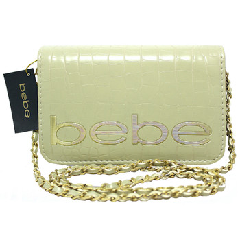 """BeBe Cream Crossbody Bag with Chain Strap 7.5"""" Wide by 5"""" Tall"""