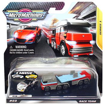 Micro Machines Silver Chase Race Team Transporter Set Series 1 with GT-R & Transporter