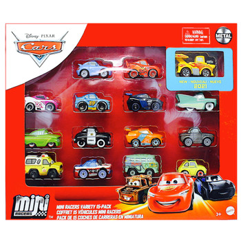 Disney Cars Diecast Mini Racers Variety 15 pack with Hot Rod Mater