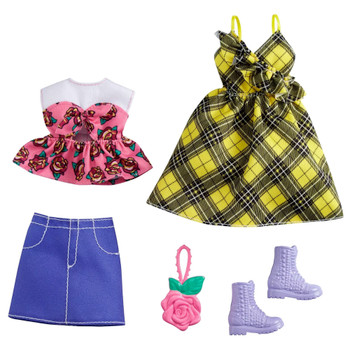 Barbie Yellow Plaid Dress & Floral Shirt with Skirt Clothing Set
