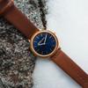 Original Grain Minimalist Mahogany Wood 40mm Blue Cognac (OG-4020-AG-MH-L)