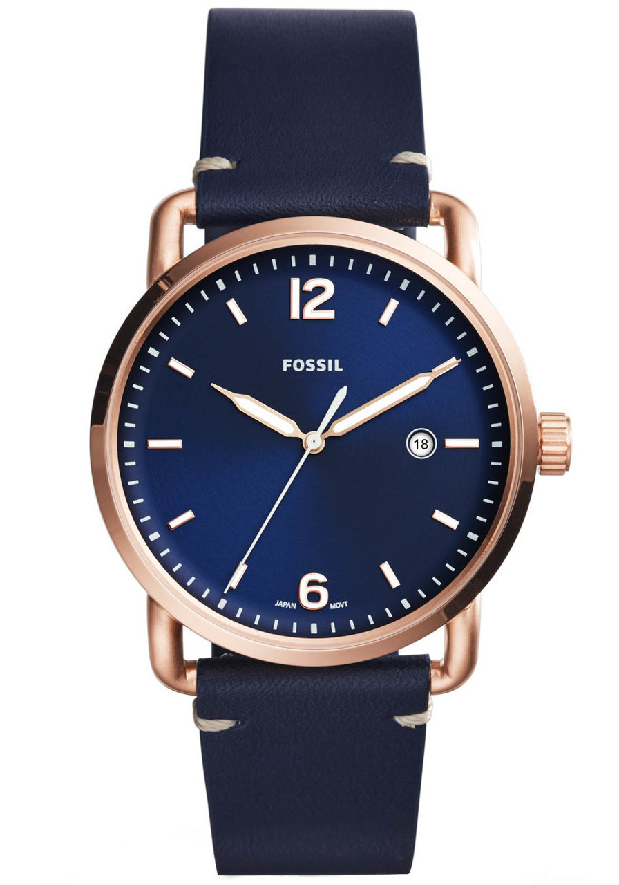 Fossil FS5274 Commuter Leather Blue Rose Gold (FS5274) 9616ec489233