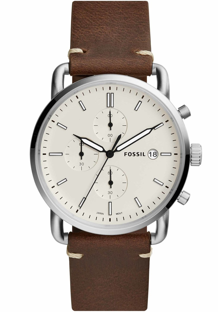 Fossil Fs5402 Commuter Chrono Leather Silver Brown