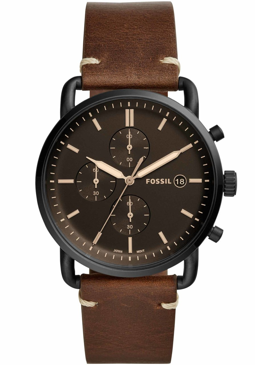 Fossil Fs5403 Commuter Chrono Leather Black Brown
