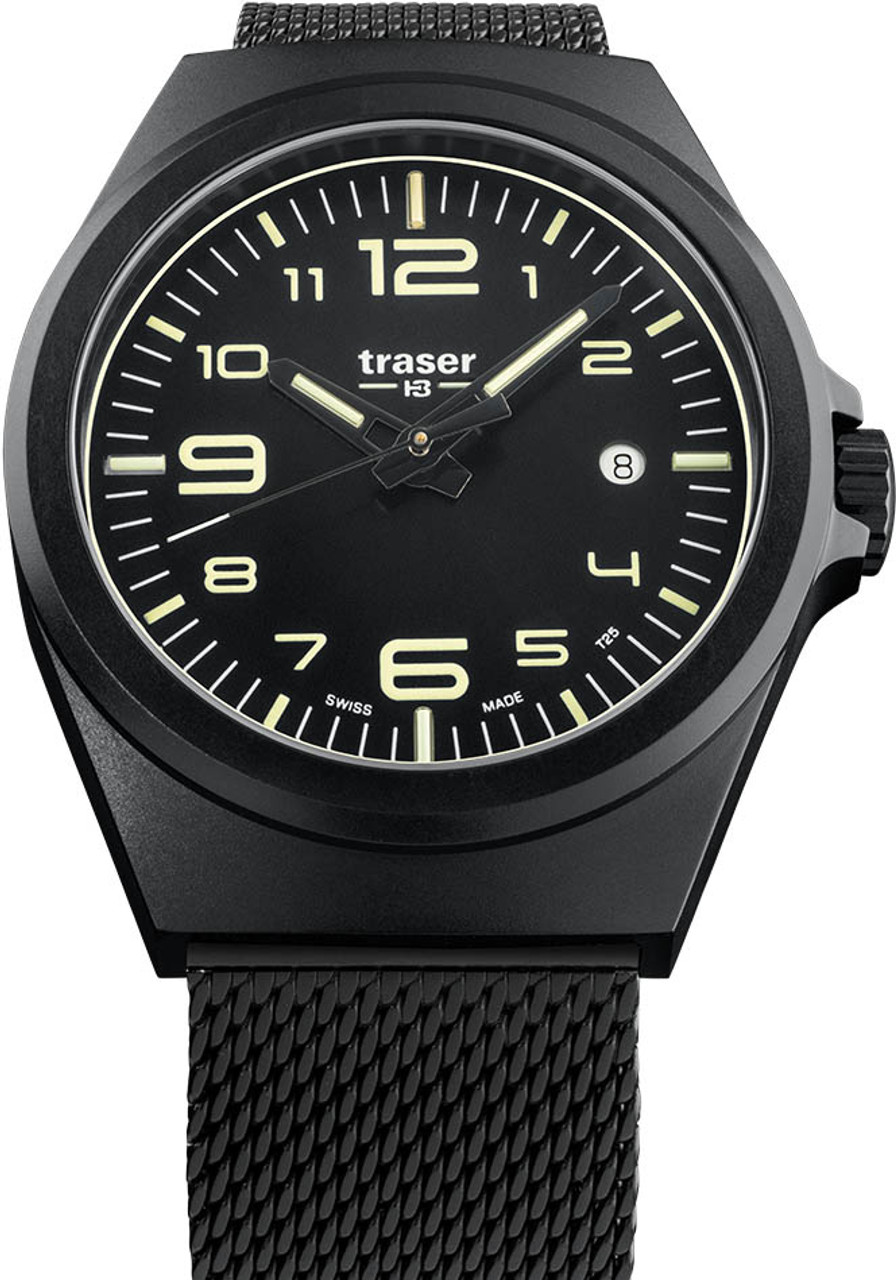 b74f8650909 Traser P59 Essential M Swiss Tritium All Black Mesh (108206)