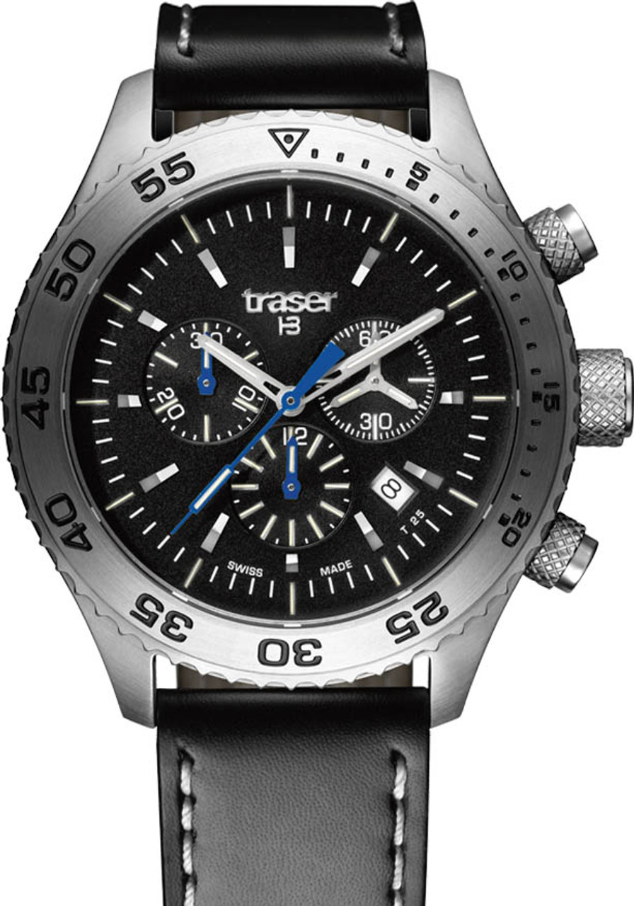 66fcaebb6ee Traser Aurora Swiss Chronograph Tritium Black Leather (106832)