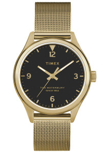 b839b751121d Timex Waterbury 34mm Black Gold Mesh (TW2T36400)