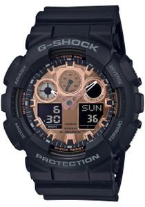 6b92ee9a8b703 G-Shock GA100 Ana-Digi Black Metallic Rose Gold