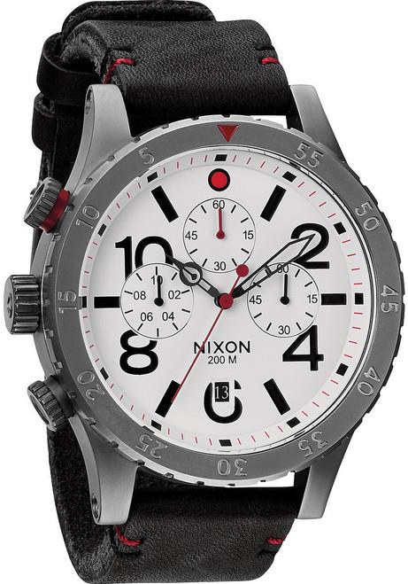 Nixon 48-20 Chrono Leather Gunmetal/White (A363486)