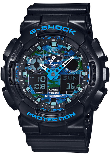 G-Shock GA-100CB-1A Black/Blue Camo