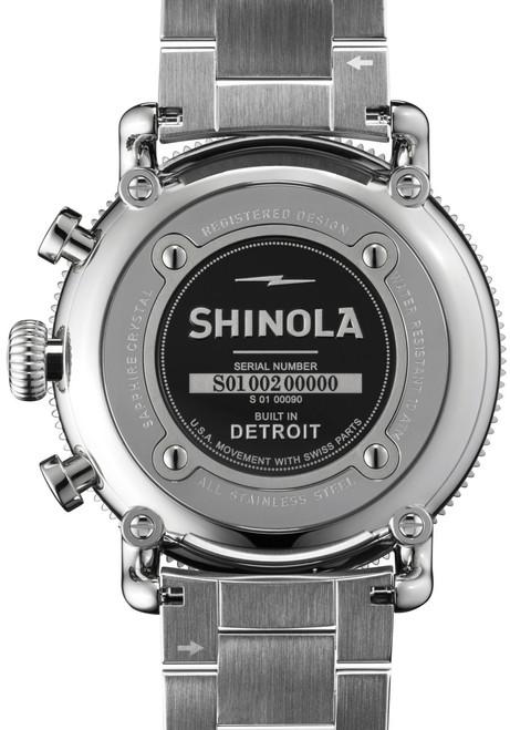 Shinola Runwell Sport 48mm, Silver Bracelet watch caseback