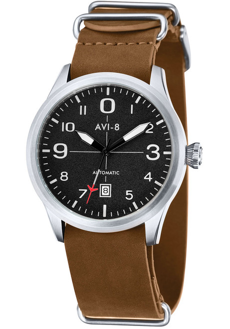 AVI-8 Flyboy Automatic Steel Black Tan (AV-4021-01)