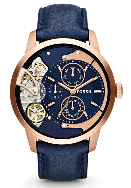 Fossil Me1138 Townsman Rose Gold Navy Watches Com