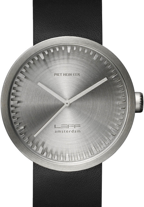 LEFF Amsterdam Tube Watch Leather D42 Steel/Black