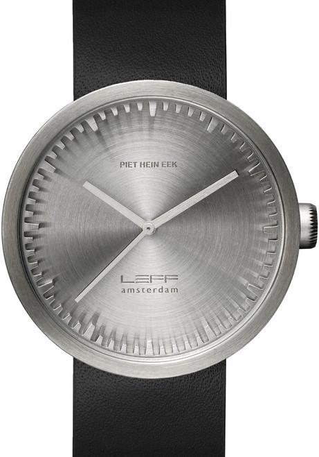LEFF Amsterdam Tube Watch Leather D42 Steel/Black