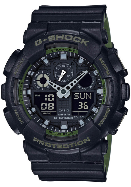 G-Shock GA-100 Military Series Black Green (GA-100L-1A)  watch front