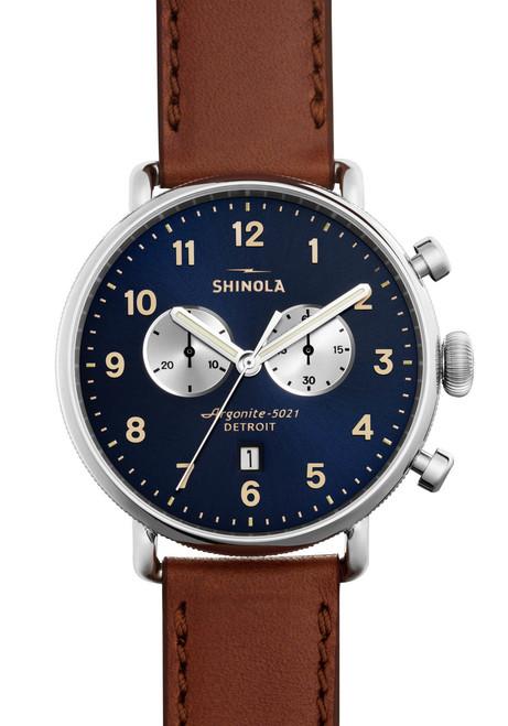 Shinola Canfield 43mm Chronograph Brown Navy (S0120001940)