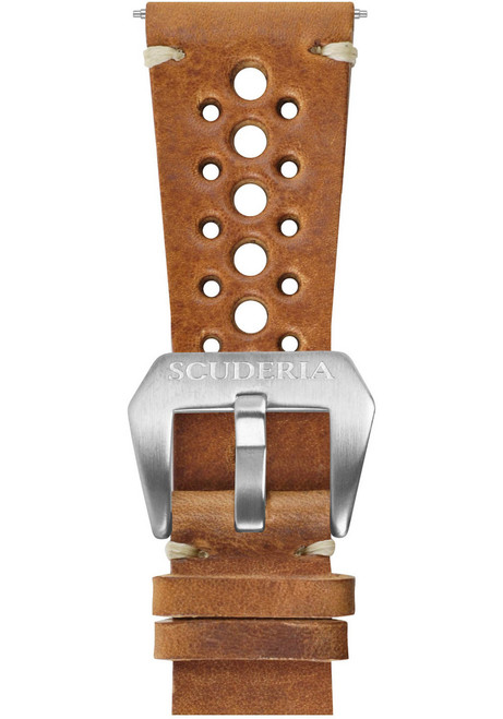 CT Scuderia 24mm 15 hole Waxed Tan Leather Strap (GS3345)