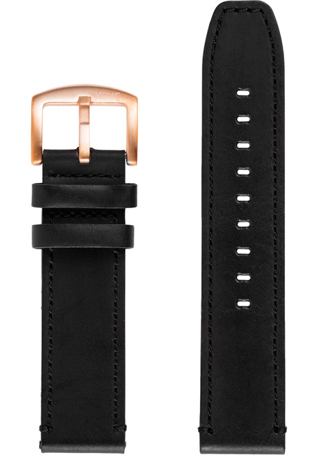 Xeric 22mm Black/Rose Gold Leather Strap (XS3021-STRAP)
