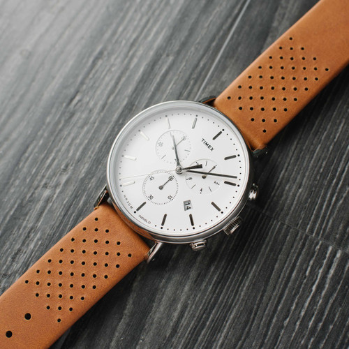 dd9aab24a ... Timex Fairfield Chrono Leather White Brown (TW2R26700VQ) ...