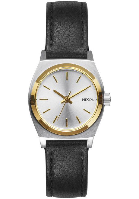 Nixon Small Time Teller Leather Silver Gold Black (A5091884)