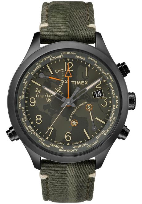 e6657354f9d4 Timex Waterbury World Time Intelligent Quartz Black Olive (TW2R43200VQ) ...