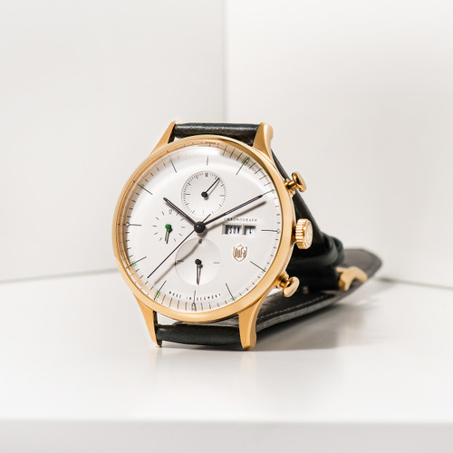 DuFa Van Der Rohe Barcelona Chrono Gold Green (DF-9021-02)