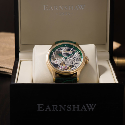 Thomas Earnshaw Bauer Hand Wind Skeleton Gold Green (ES-8049-05)
