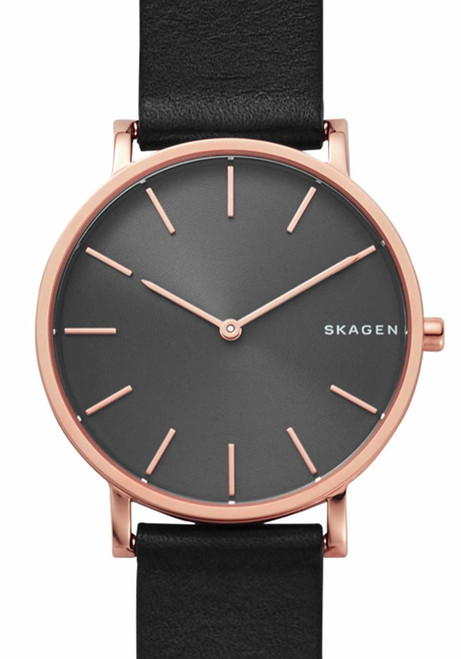 Skagen SKW6447 Hagen Slim Rose Gold Black Leather