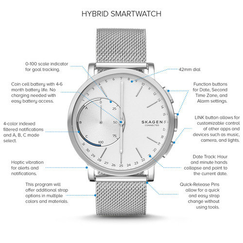 Skagen Skt1100 Hagen Connected Steel Mesh Hybrid Smartwatch