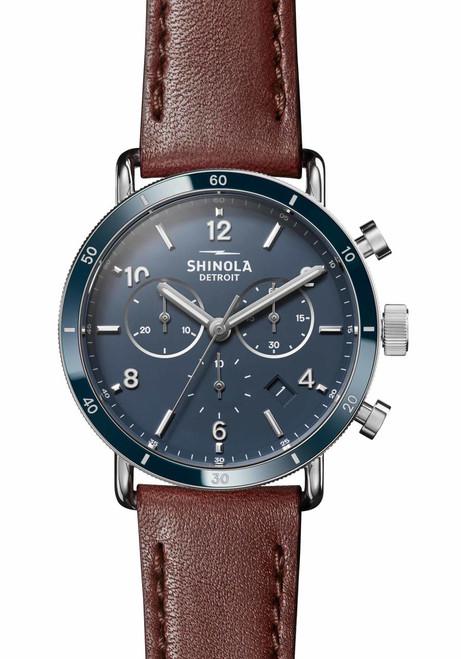 Shinola Canfield Sport Chrono 40mm Midnight Blue Brown