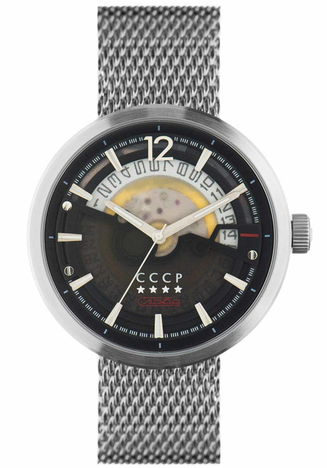 CCCP Kashalot Dress Automatic Silver Black Mesh (CP-7008-22)