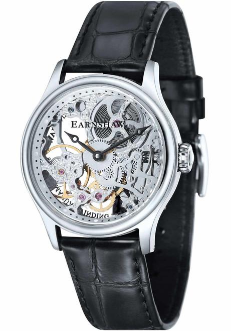 Thomas Earnshaw Bauer Hand Wind Skeleton Silver Black (ES-8049-01)