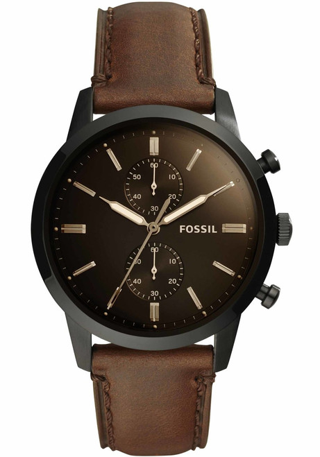 fossil fs5437 townsman chrono leather black brown watches com