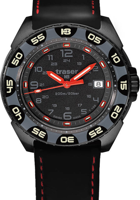 8ec59a1c254 Traser Red Alert T100 Swiss Tritium Black Leather USA Exclusive (106470) ...