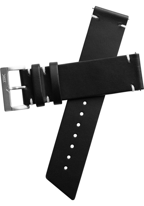Xeric 22mm Horween Beaufort Leather Black Strap Silver Buckle (XRC-ANG-22-BKSV)