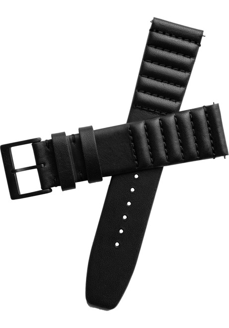Xeric 22mm Ribbed Horween Leather Black Strap Black Buckle (XRC-TMP-22-BKBK)