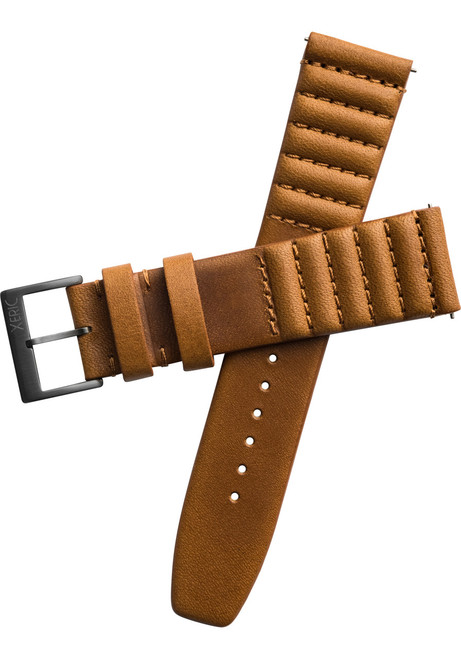 Xeric 22mm Ribbed Horween Leather Tan Strap Gun Buckle (XRC-TMP-22-TNGN)