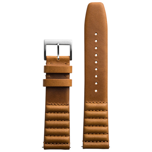 Xeric 22mm Ribbed Horween Leather Tan Strap Silver Buckle (XRC-TMP-22-TNSV)