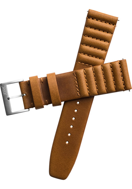 sale retailer e3316 8842c Xeric 22mm Ribbed Horween Leather Tan Strap Silver Buckle (XRC-TMP-22- ...