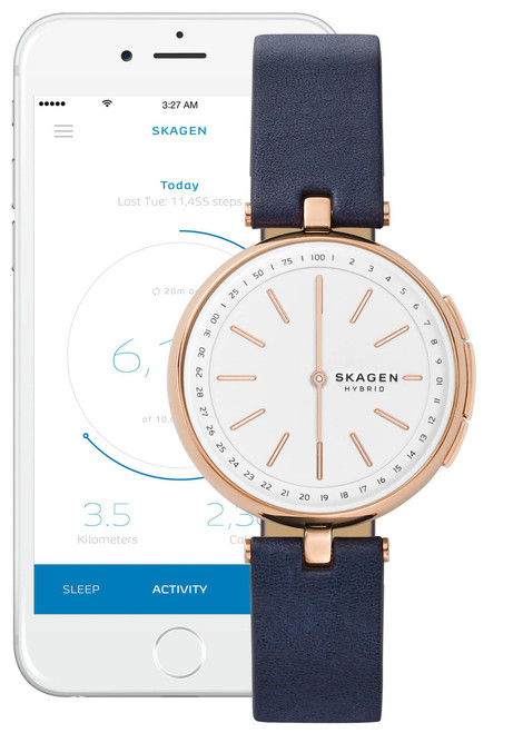 Skagen Hybrid Smartwatch Signatur T Bar Blue Watches Com