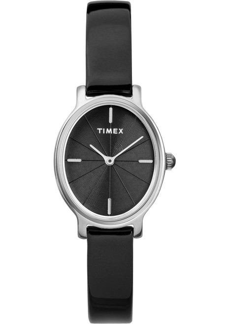 Timex Milano Oval 24MM Patent Leather Silver Black (TW2R94500)