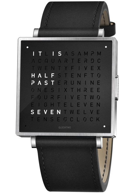 Qlocktwo W 39mm Pure Black (QW39EN6BRLSBLN)
