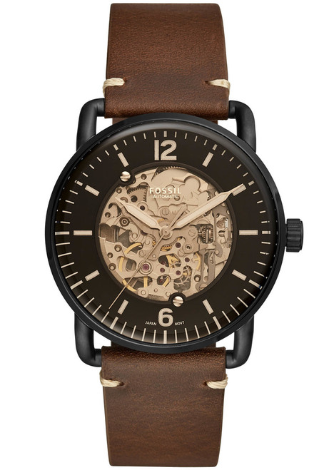 Fossil Me3158 Commuter Automatic Black Brown Leather