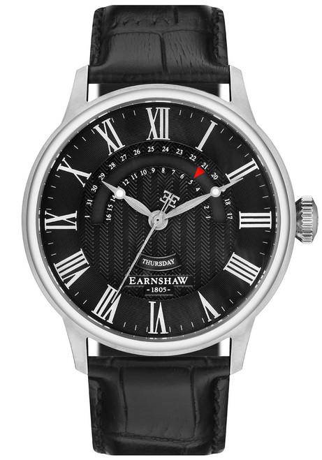 Thomas Earnshaw Cornwall Retrograde Register Day Date Silver Black (ES-8077-02)